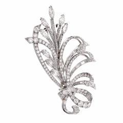 Retro Large Diamond Platinum Floral Bouquet Lapel Brooch