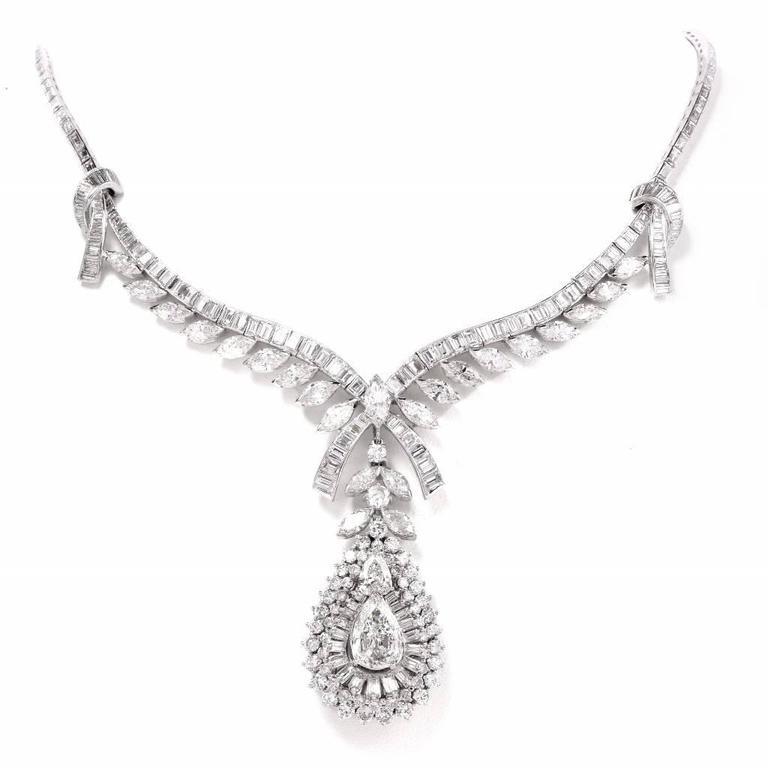 Celebrity 33.01 Carat Baguette Pear Diamond Platinum Drop Necklace For Sale 1