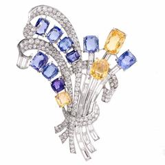 Natural Blue and Yellow Sapphire Platinum Floral Bouquet Lapel Brooch