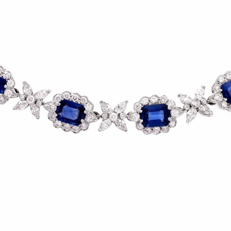 Sapphire Diamond Cluster Link Necklace and Bracelet 5