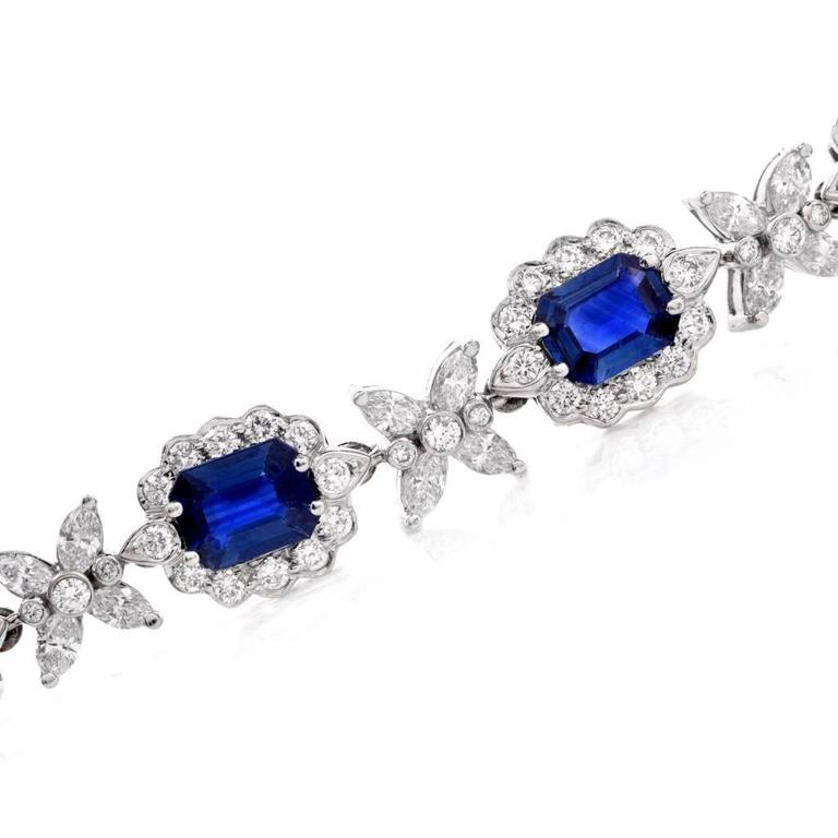 Sapphire Diamond Cluster Link Necklace and Bracelet 6