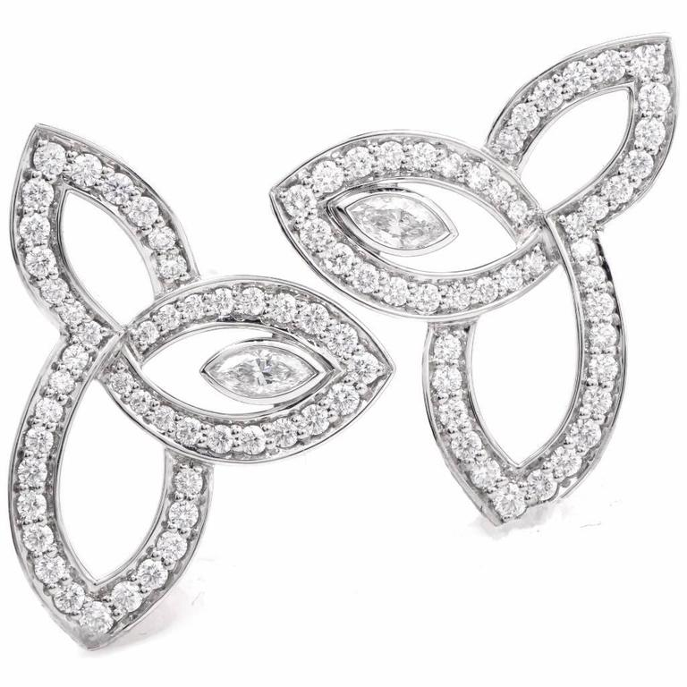 Harry Winston Lily Cluster Collection Diamond Platinum Stud Earrings 2