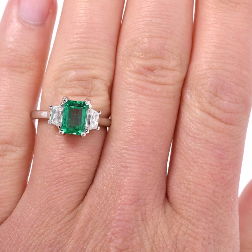 Colombian Emerald Platinum Three-Stone Engagement Ring at 1stdibs