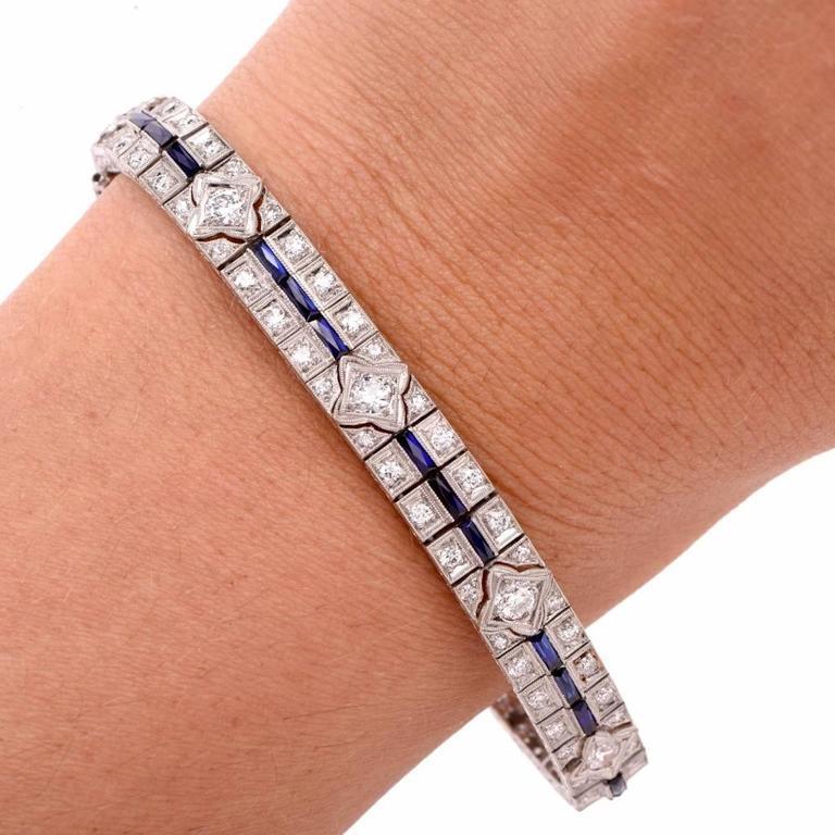 Antique Art Deco Diamond Sapphire Platinum Line Bracelet