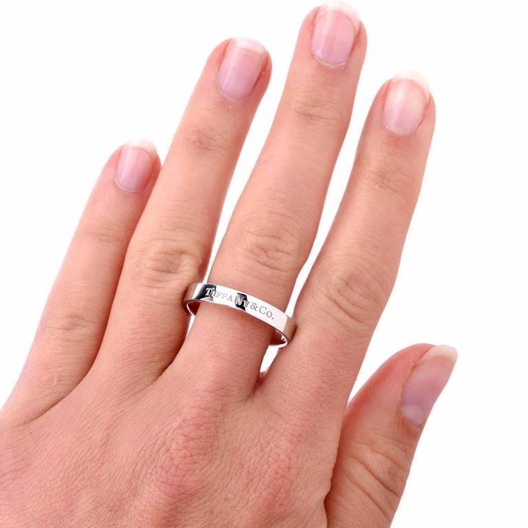 Tiffany Co Platinum Lucida 2mm Wedding Band Ring Sz 8: Tiffany And Co. Men's Platinum Wedding Ring For Sale At