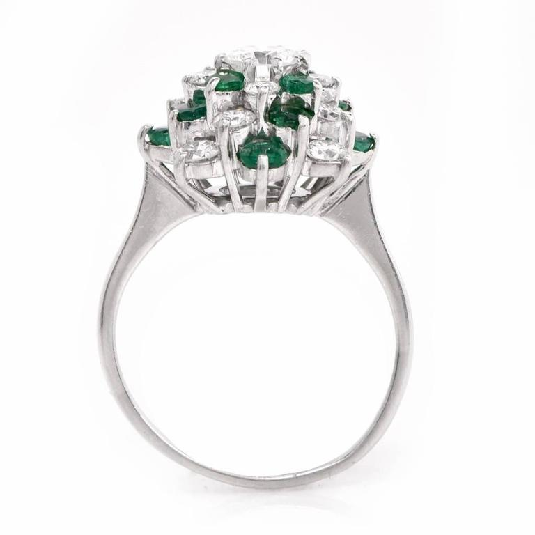 Dome Shaped Bands: Diamond Emerald Platinum Dome-Shaped Cocktail Ring At 1stdibs