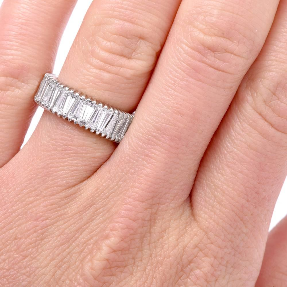 1960s Tapered Baguette Diamond Platinum Eternity Band Ring at 1stdibs