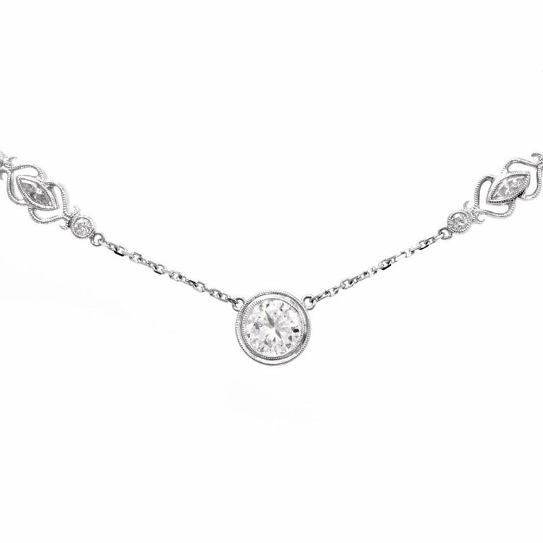Art Deco Sparkling 3.20 Carat Diamonds by the Yard Gold Necklace For Sale