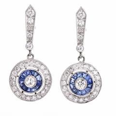 Diamond Sapphire Platinum Target Drop Pendant Earrings