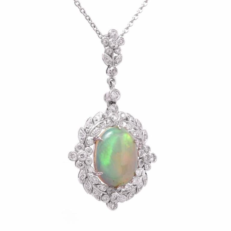 Art Deco Opal Diamond Gold Pendant Necklace For Sale