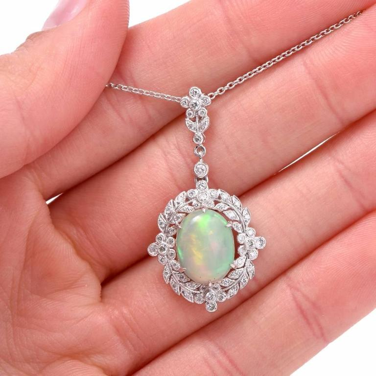 Women's Opal Diamond Gold Pendant Necklace For Sale