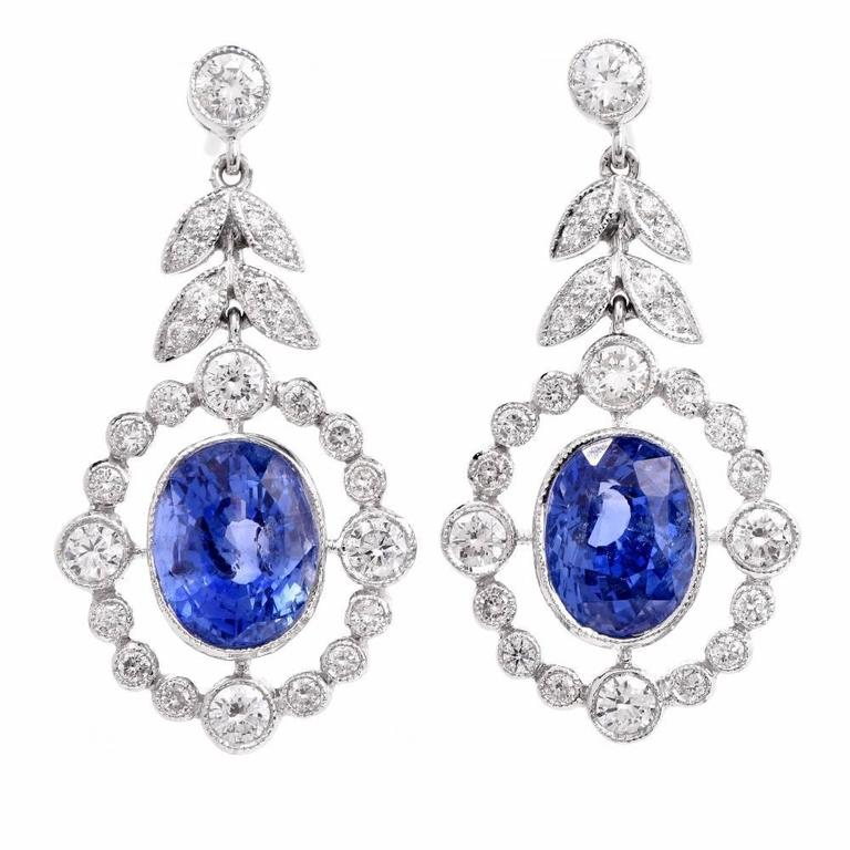 Sapphire Diamond Platinum Pendant Earrings For Sale