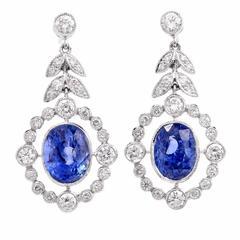 Sapphire Diamond Platinum Pendant Earrings