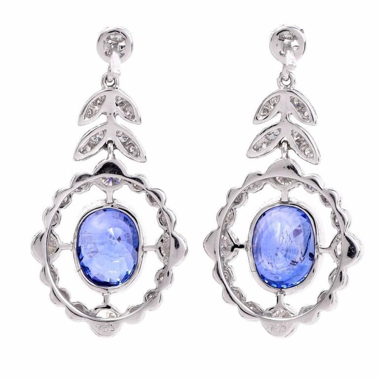 Art Deco Sapphire Diamond Platinum Pendant Earrings For Sale