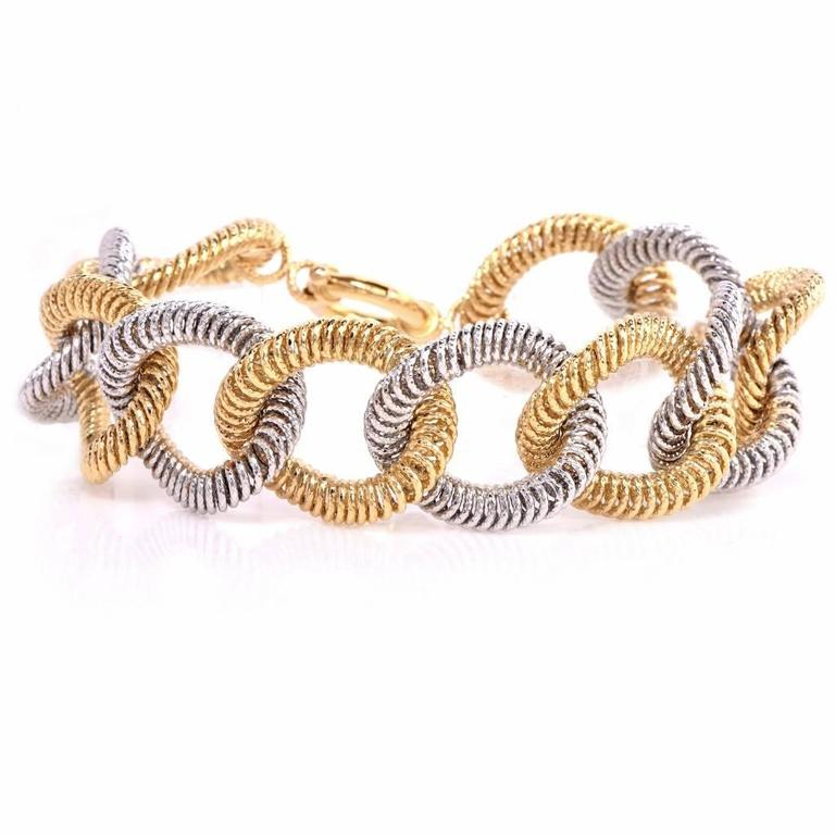 Fancy Oval Link Twisted Wire Two Color Gold Bracelet at 1stdibs