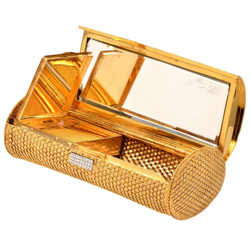 Tiffany & Co. 1980's Diamond Gold Clutch Purse Compact