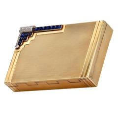 Sapphire Diamond Gold Compact Box