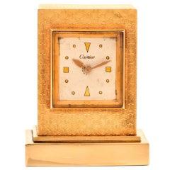 Cartier Vintage 14 Karat Gold Eight Day Accessory Desk Clock