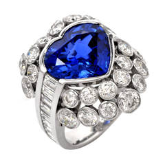 Heart Shaped Blue Sapphire GIA Certified Diamond Gold Cocktail Ring