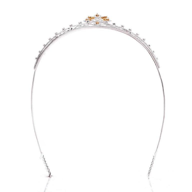 GIA Certified Natural Fancy Diamond Gold Tiara 4