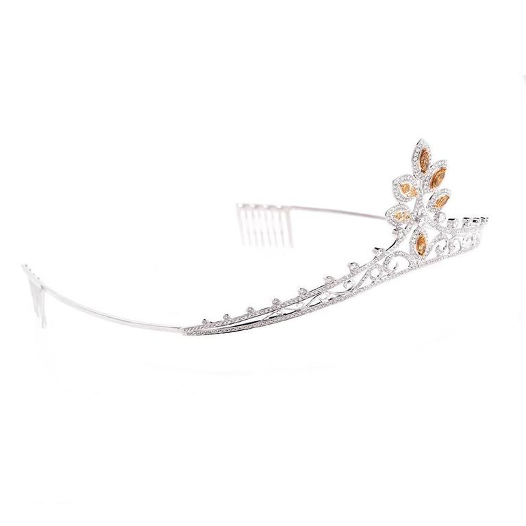 GIA Certified Natural Fancy Diamond Gold Tiara In Excellent Condition For Sale In Miami, FL