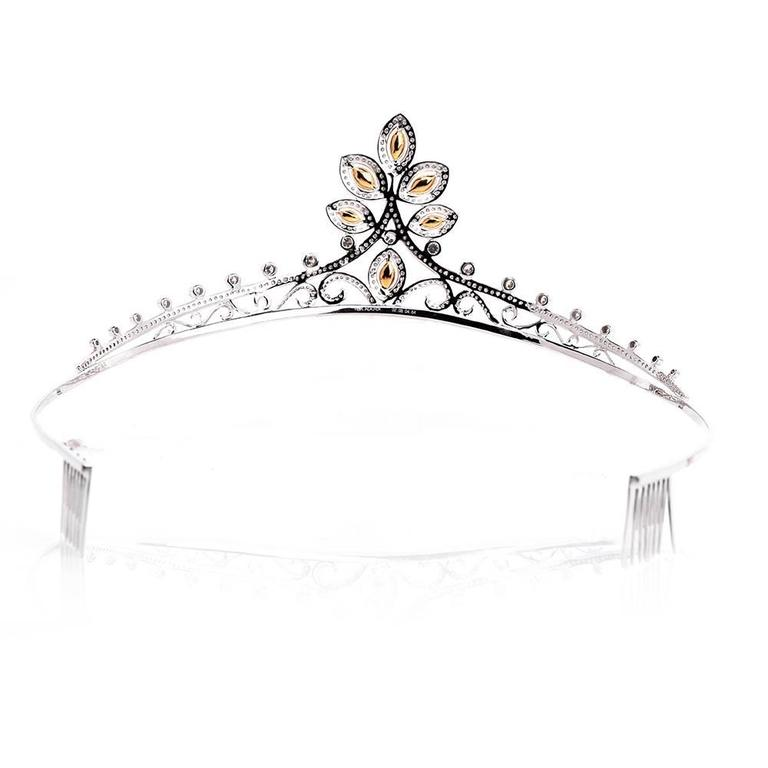 GIA Certified Natural Fancy Diamond Gold Tiara For Sale 1