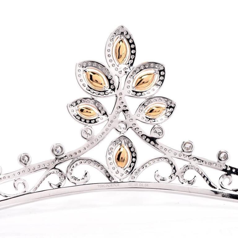 GIA Certified Natural Fancy Diamond Gold Tiara For Sale 3