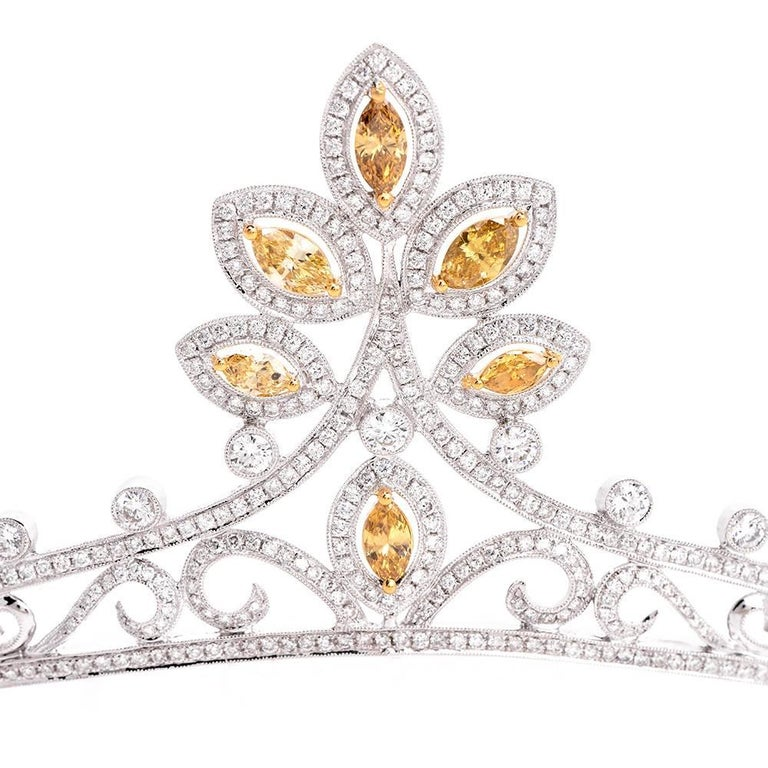 GIA Certified Natural Fancy Diamond Gold Tiara 2