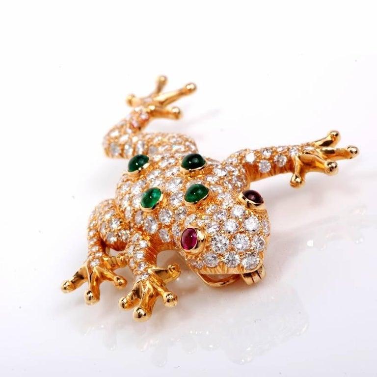 Oscar Heyman Diamond Frog Pin Brooch For Sale at 1stdibs