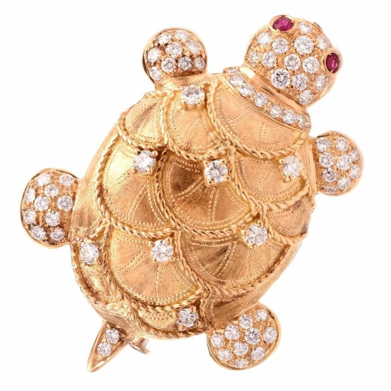 Diamond Turtle Gold Brooch Pin and Pendant
