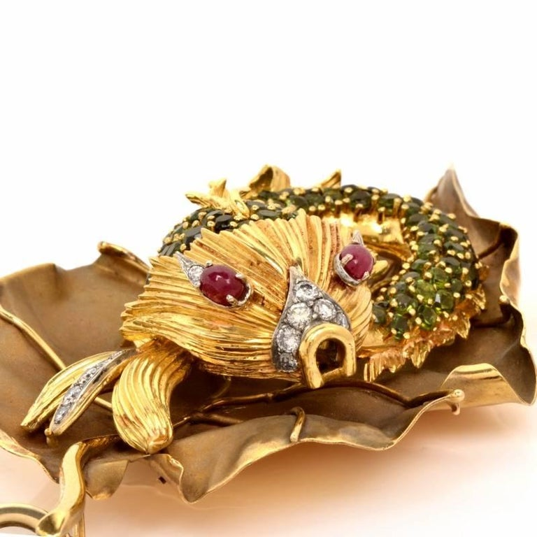 Tourmaline Goldfish Diamond Pendant 6