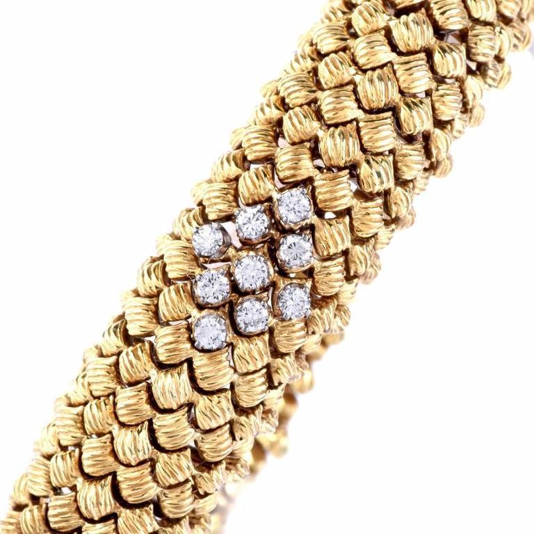 Women's Vintage Diamond Woven Gold Flexible Bracelet For Sale