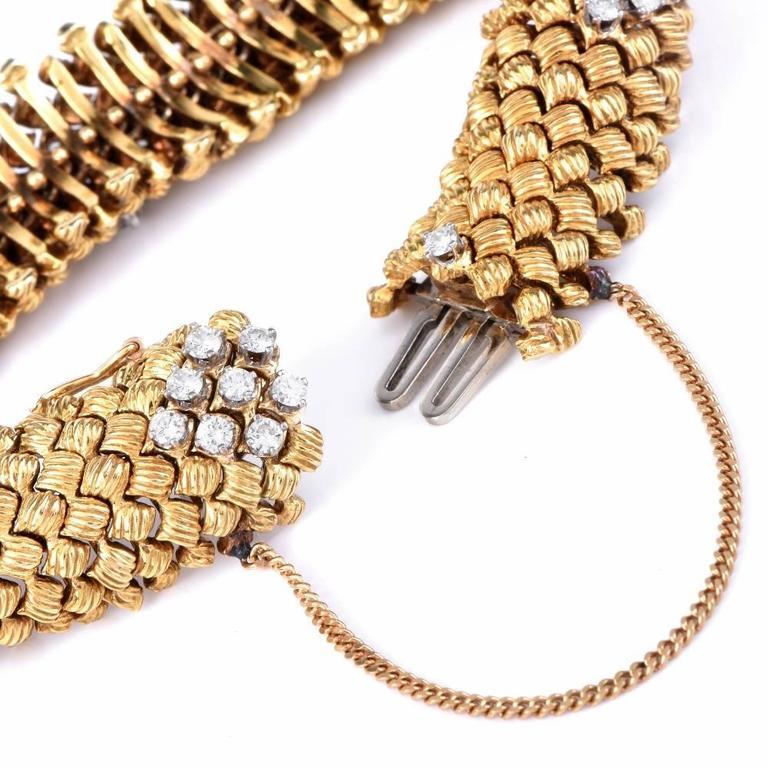 Vintage Diamond Woven Gold Flexible Bracelet For Sale 1