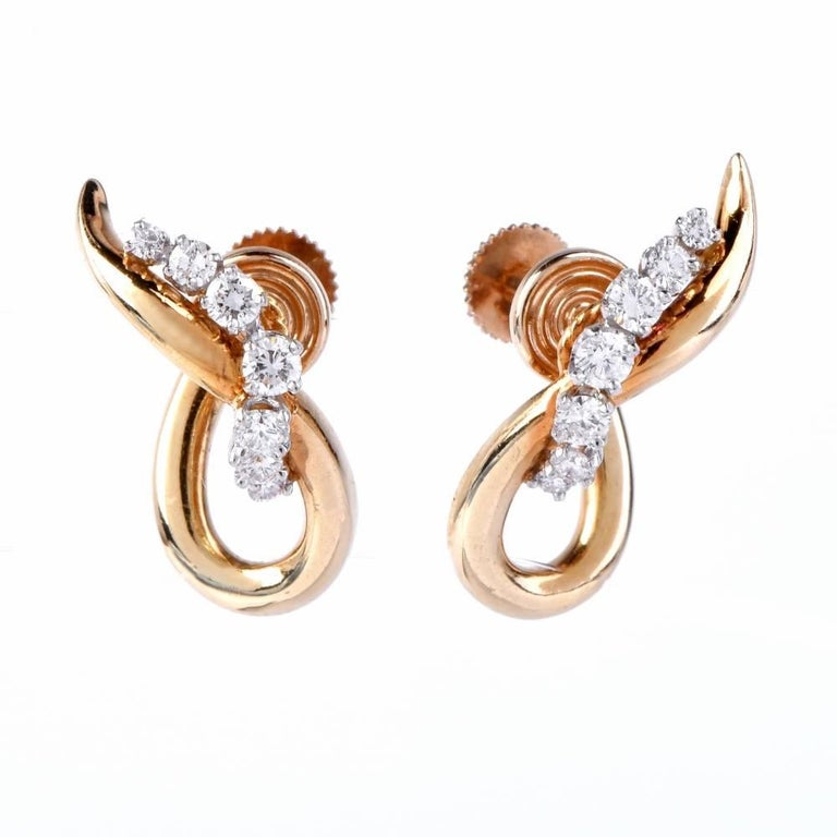 Diamond Platinum Yellow Gold Screw Back Earrings