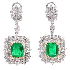 Emerald Diamond Dangle Drop Earrings