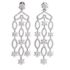 Stunning Diamond Cascading Chandelier Clip-Back Gold Earrings