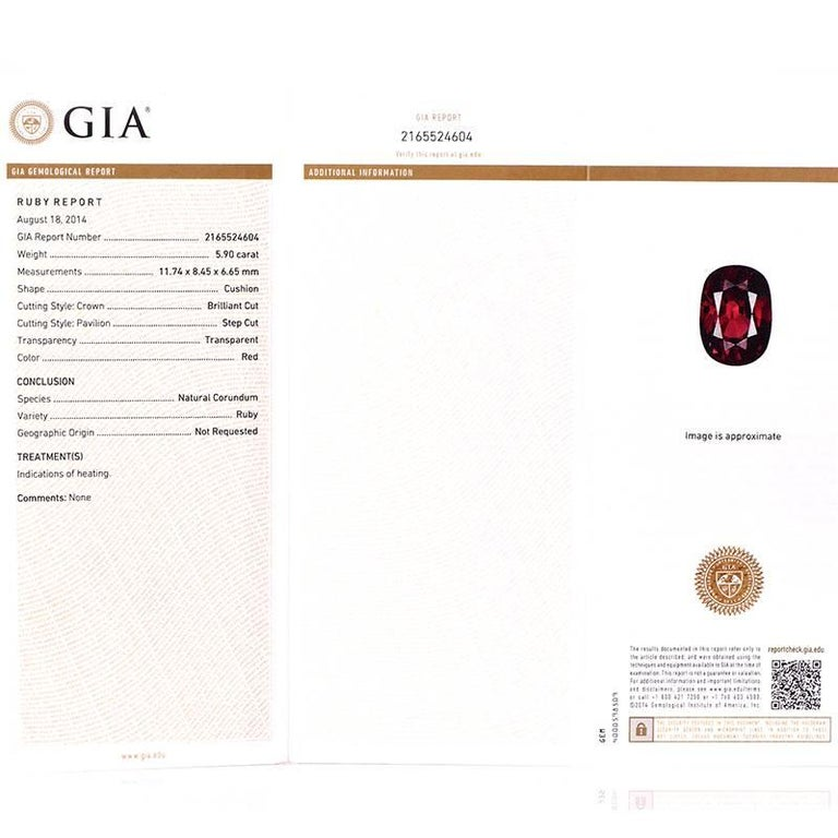 Certified 590 Carat Gia Ruby Diamond Platinum Gold Ring For Sale At