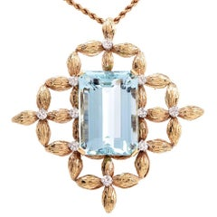 1960s 59.60 Carat Aquamarine Diamond Gold Brooch Pin and Pendant