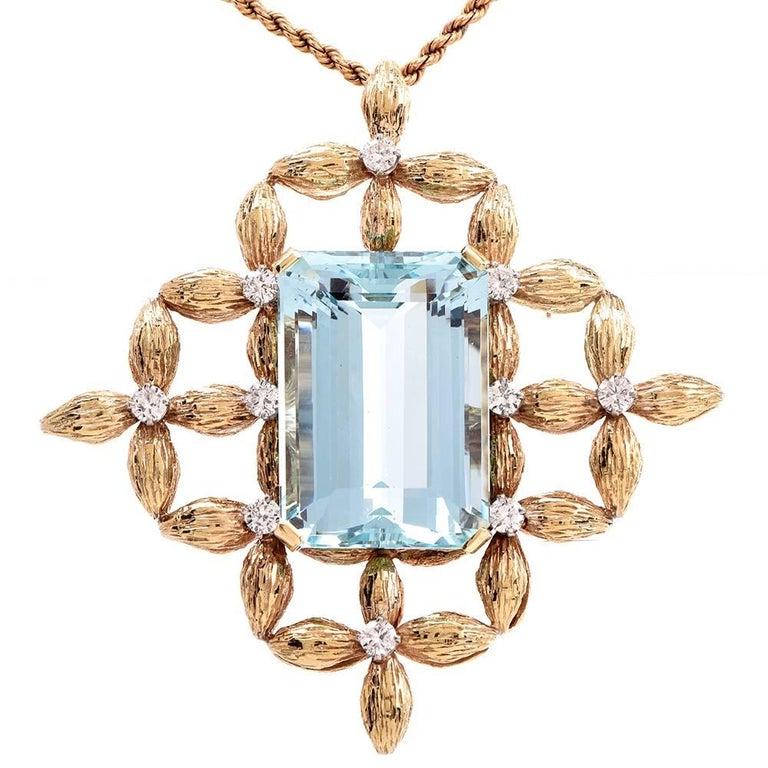 1960s 59.60 Carat Aquamarine Diamond Gold Brooch Pin and Pendant