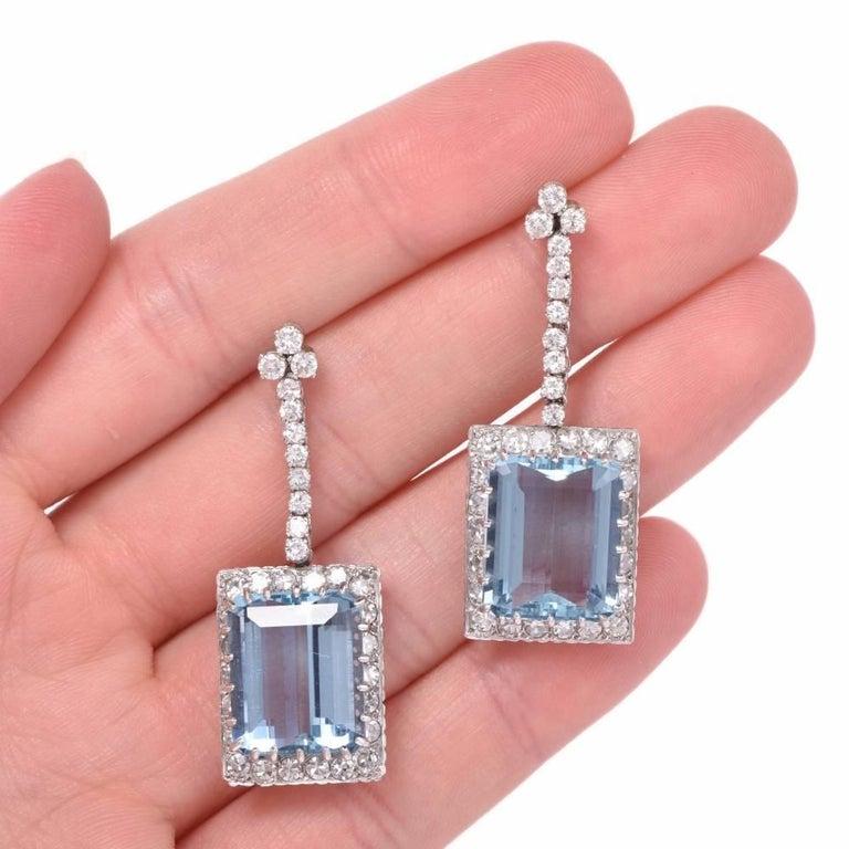 1960s santa maria aquamarine diamond platinum pendant for Santa maria jewelry company