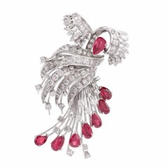 1950s Diamond Ruby Cocktail Pin Brooch