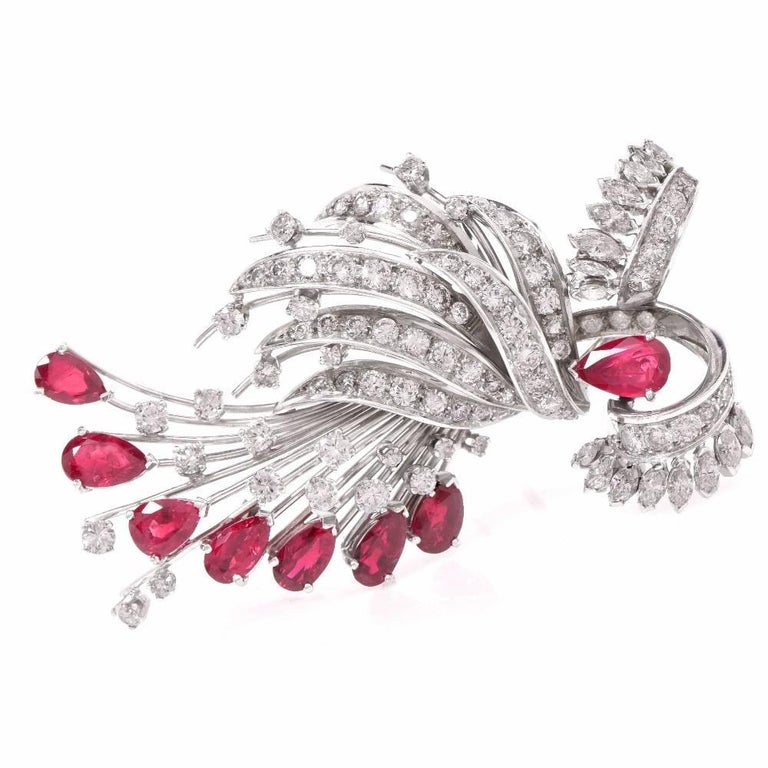1950s Diamond Ruby Cocktail Pin Brooch In Excellent Condition For Sale In Miami, FL