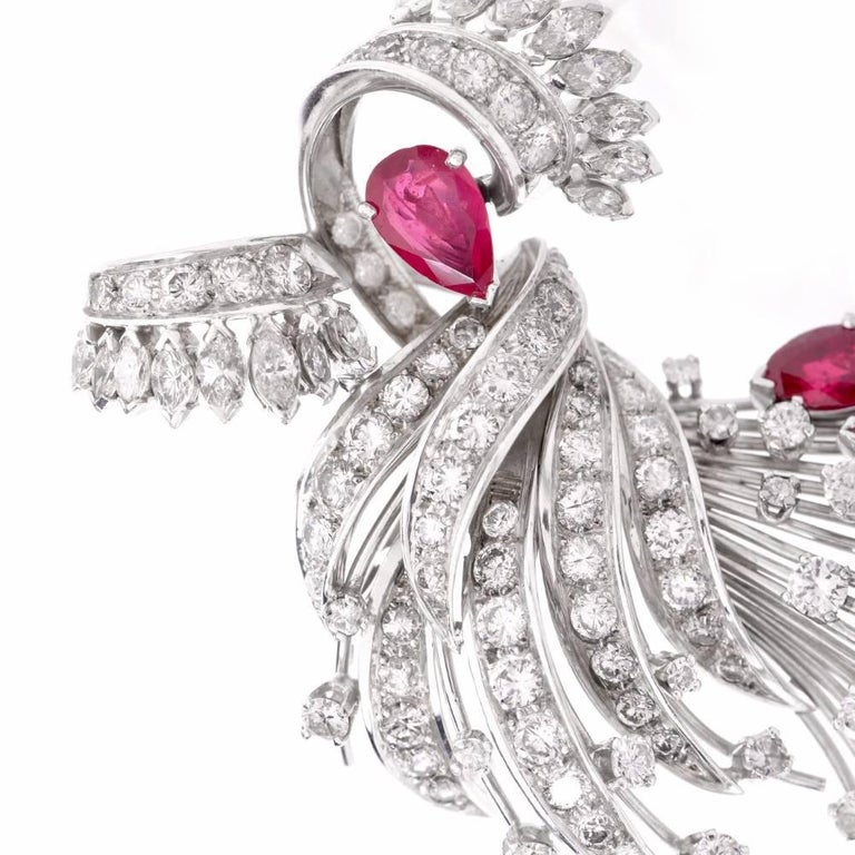 1950s Diamond Ruby Cocktail Pin Brooch For Sale 2