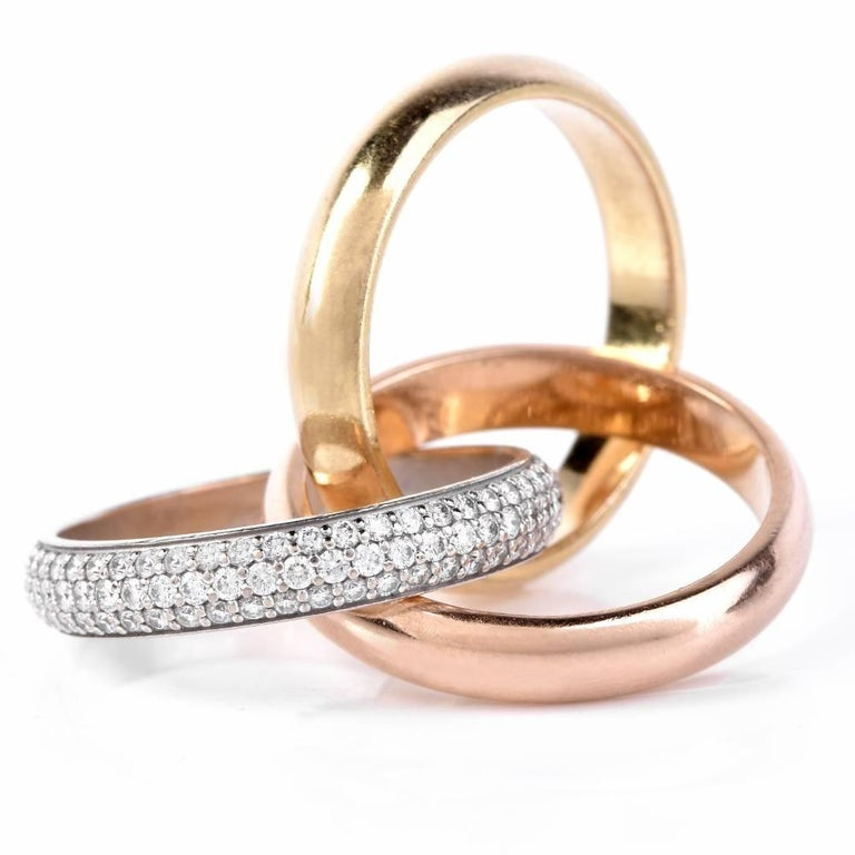 cartier tri color gold rolling ring for