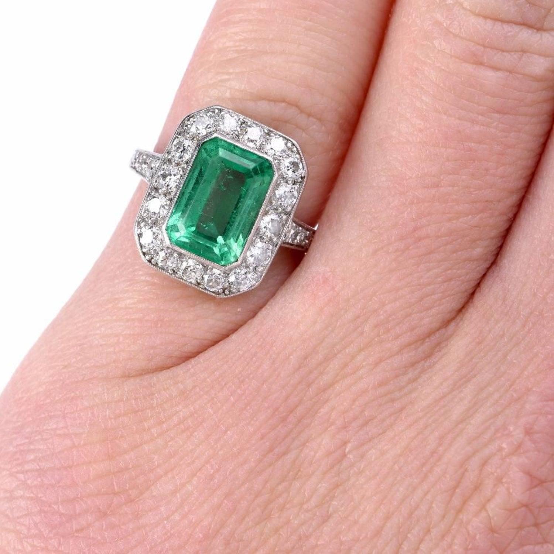 Art Deco Emerald Diamond Platinum Ring at 1stdibs