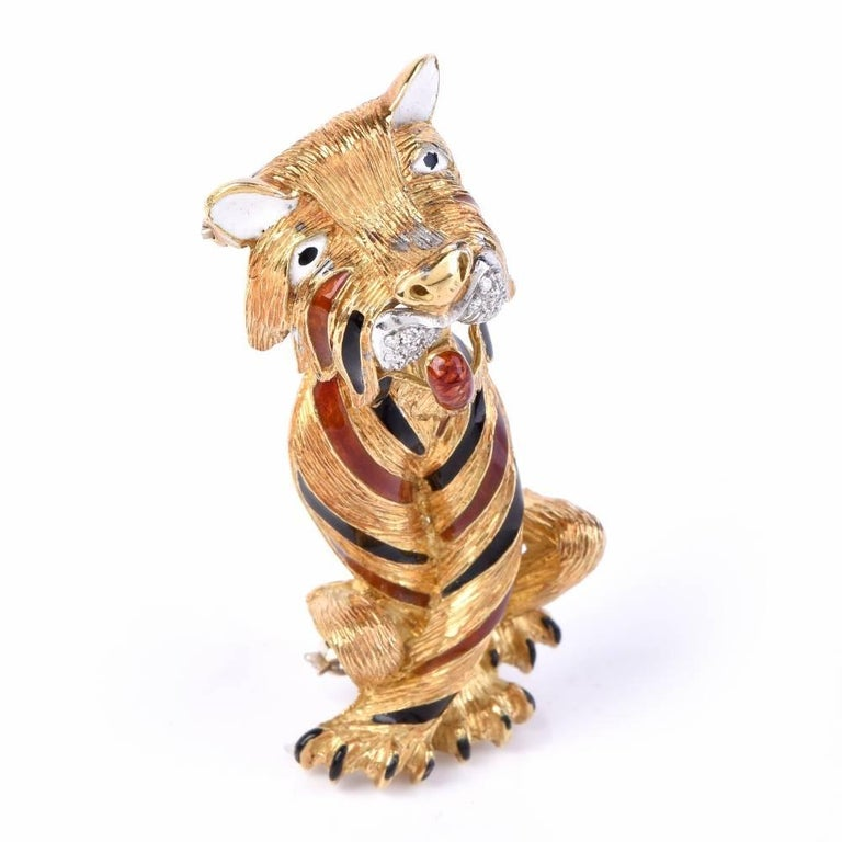 Women's Vintage Diamond Italian Enamel Large Tiger 18 Karat Gold Brooch Pin For Sale