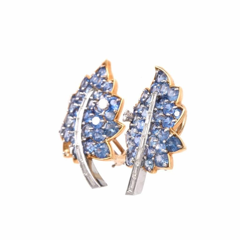 Vintage Diamond Sapphire Cluster Retro Leaves Earrings 3