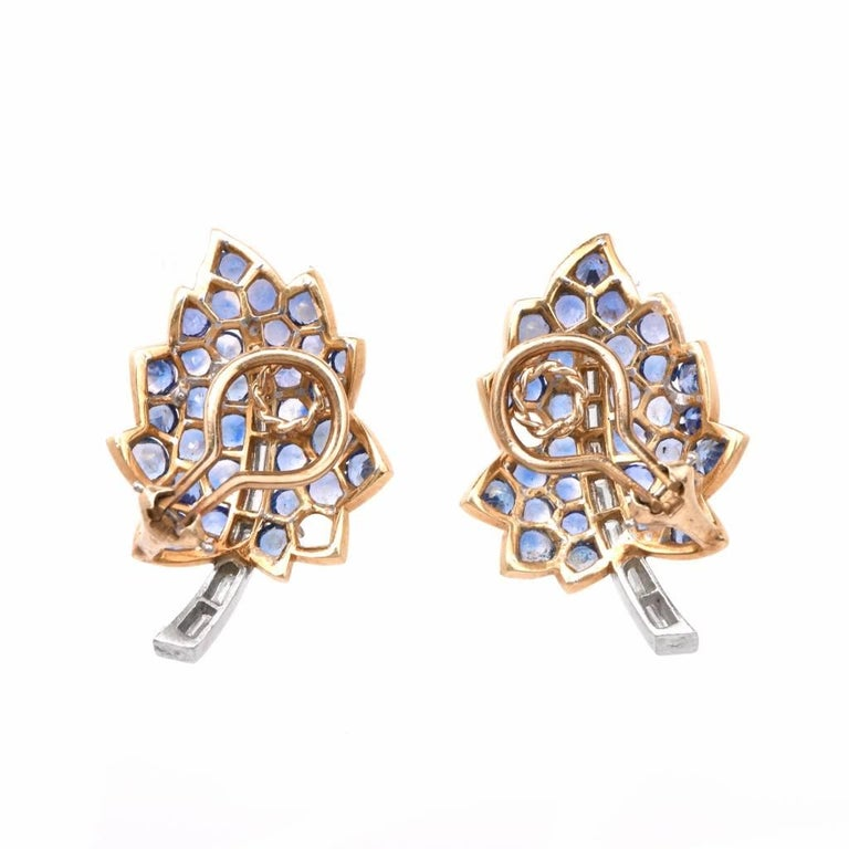 Vintage Diamond Sapphire Cluster Retro Leaves Earrings 4