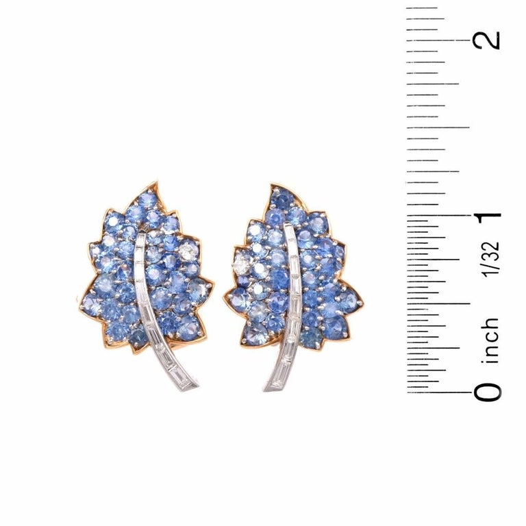Vintage Diamond Sapphire Cluster Retro Leaves Earrings 5