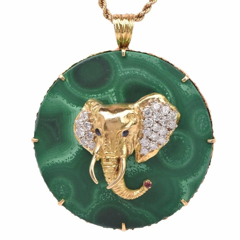 1970s Malakie Gold Diamond Elephant Pendant